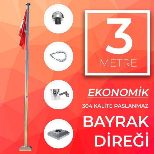 3 Metre Ekonomik Paslanmaz Bayrak Direği