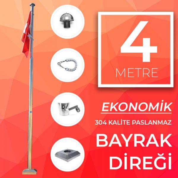 4 Metre Ekonomik Paslanmaz Bayrak Direği