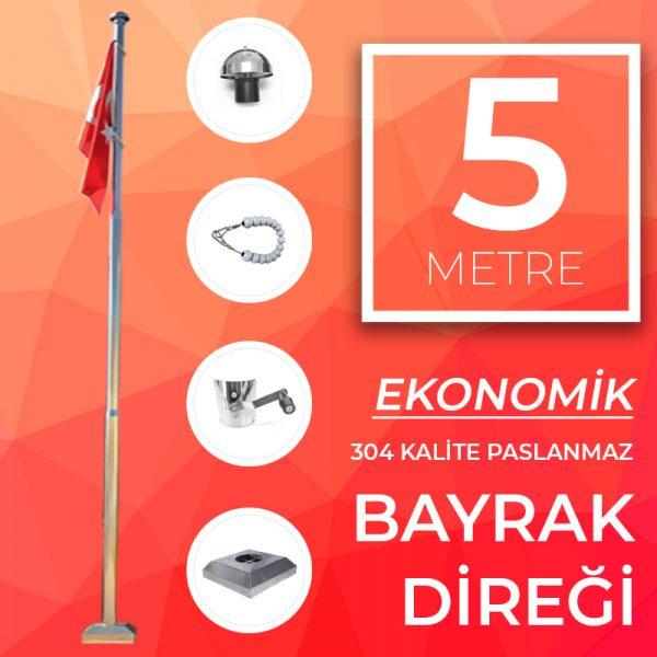 5 Metre Ekonomik Paslanmaz Bayrak Direği