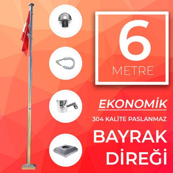 6 Metre Ekonomik Paslanmaz Bayrak Direği